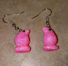 Pink Peeps Inspired Charm Earrings Silver Wire Clay Easter Marshmallow - $6.50