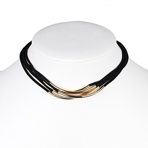 Primary image for UE- Multi Strand Gold Tone Jet Black Faux Suede Designer Choker Necklace