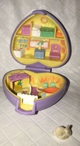 Vintage Polly Pocket 1993 Pretty Bunnies Case Bluebird Purple Heart Compact - $16.82