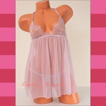 XS X-Small VS Victoria's Secret Chemise Lace Babydoll Set Racerback Chee... - $34.99