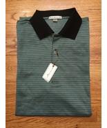 Peter Millar Black Green Links 100% Cotton Polo Golf Shirt Top Large L N... - $129.99