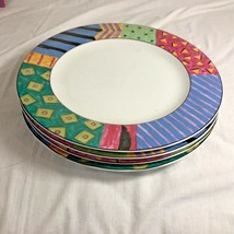 Farberware Retroneu AKU Dinner Plate Geometric Rim Lot of 4 - $48.61
