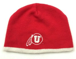 VINTAGE Utah Utes Beanie Hat Skull Cap Red NCAA Knit Embroidered One Size Fitted - $18.82