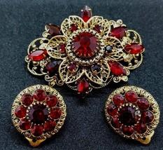 Vtg Red Rhinestone Filigree Brooch Pin Earring Demi Parure Set Unsigned - $38.59