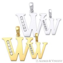 """Initial Letter """"W"""" Cubic Zirconia CZ Crystal Symbol Necklace Pendant in 14k Gold - $54.69 - $161.51"""