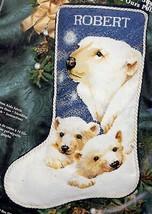 Janlynn Polar Bear Cubs Arctic Animal Christmas Cross Stitch Stocking Ki... - $99.95