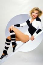 Cindy Morgan striking studio pose leggings and striped top 24x18 Poster - $23.99