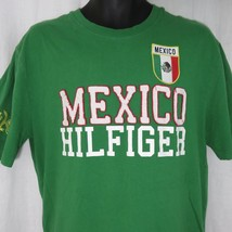 Tommy Hilfiger XL Mexico Spelled Out Embroidered Shirt Green White - £38.73 GBP