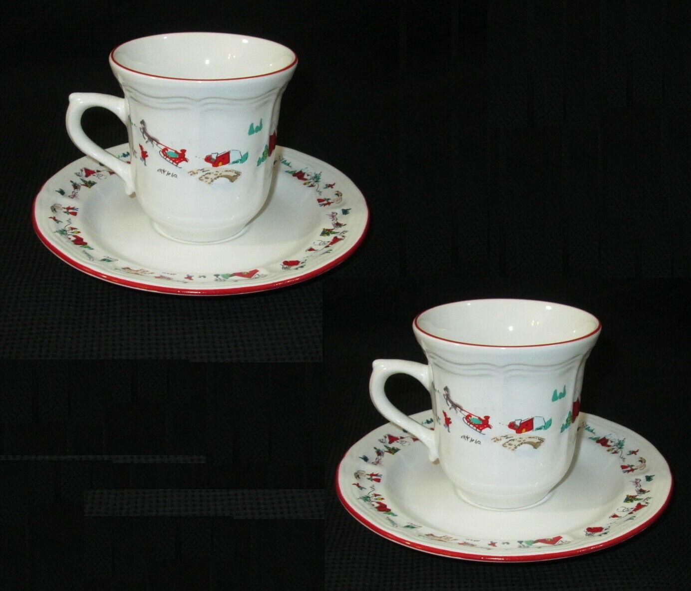 2 Farberware Cup Saucer Coffee Set White Christmas Katherine Babonov 391 - $14.84