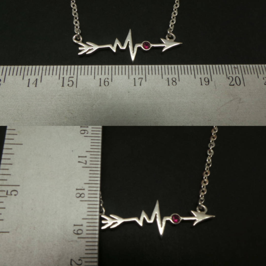 Handmade 925 Silver Sideways Arrow Heartbeat Necklace Choker