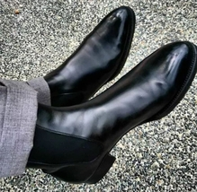 Handmade Men's Black High Ankle Dress/Formal Chelsea Style Leather Boots image 2
