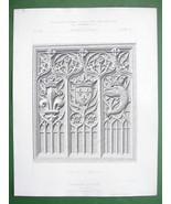 ARCHITECTURE PRINT : 15th C Wood Carved Panel Crowned Dolphin Louis XI - $6.42