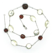 18K WHITE GOLD NECKLACE, ALTERNATE AMBER, PEARL DISC AND OVAL MOTHER OF PEARL image 2