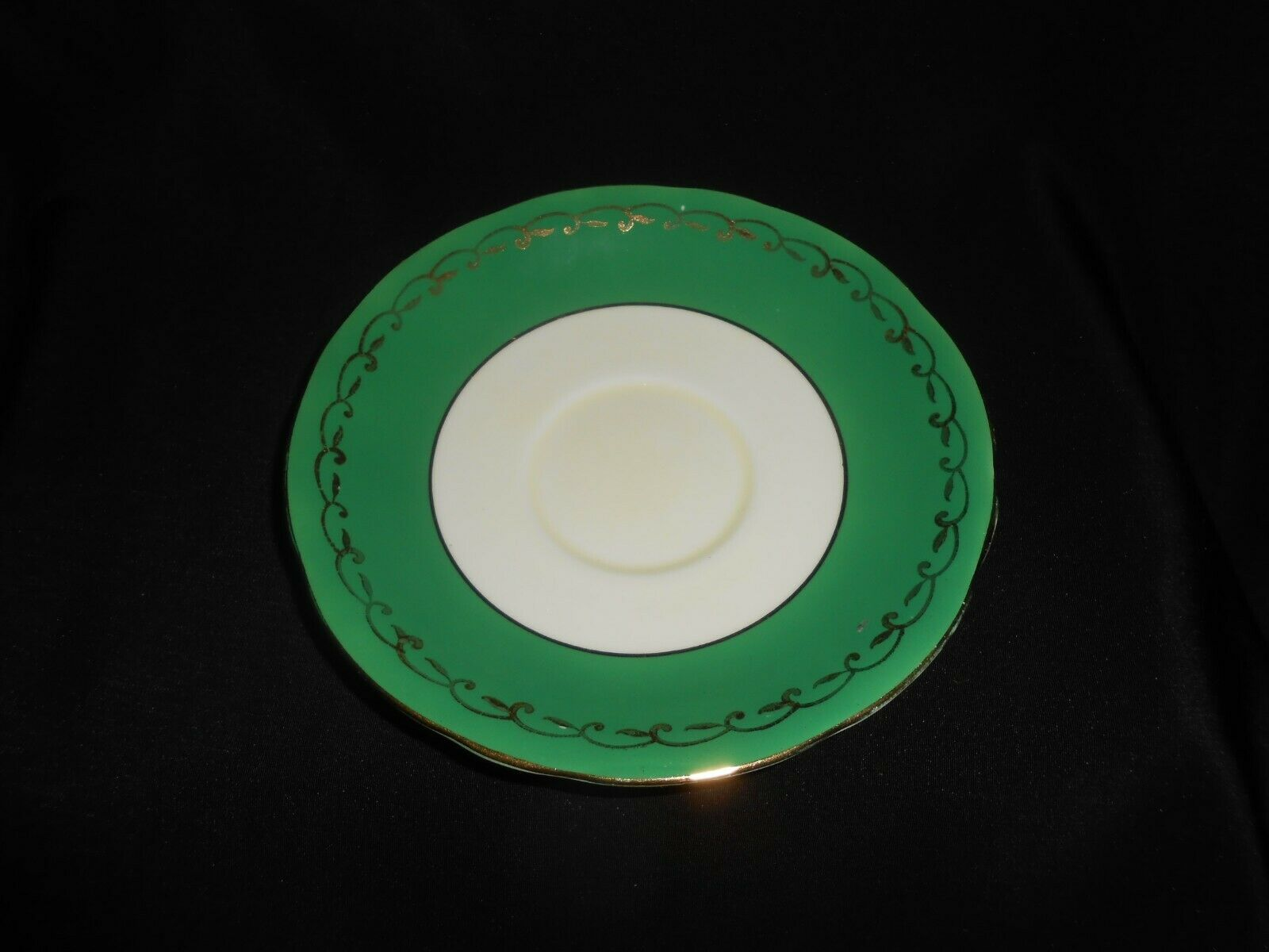 Aynsley Teacup and Saucer Green Gold Open Roses Vintage Floral Tea Cup & Saucer image 5