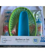 Mainstays 30 Piece Barbecue Set Green BLUE Flowers Corn Holders Baskets ... - $11.87