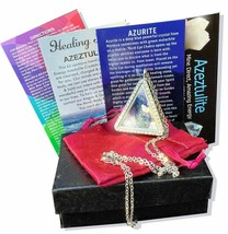 Azeztulite & Azurite Locket with Certificate of Authenticity Gift Box - $28.70