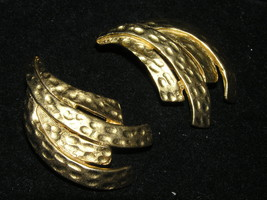 Vintage Large Hammered Goldtone MODERNIST Spray Clip Earrings – 1.75 x 1 inches - $8.59