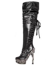 Hades LOKIE Sexy Black Vegan Thigh High Boots Laceup Proteus Metallic High Heels - $198.00