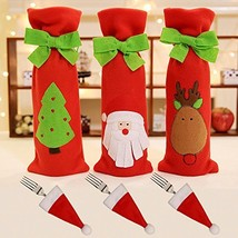 3Pcs Christmas Red Wine Bottle Cover Bags with Cutlery Bags Christmas Gi... - $11.42
