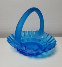 VTG Westmoreland Grape Satin Blue Carnival Glass Handled Ruffled Nut Basket - $29.69