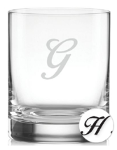 Lenox Tuscany Monogram Barware, Set of 4 Script Letter DOF Glases Letter H NEW - $27.99