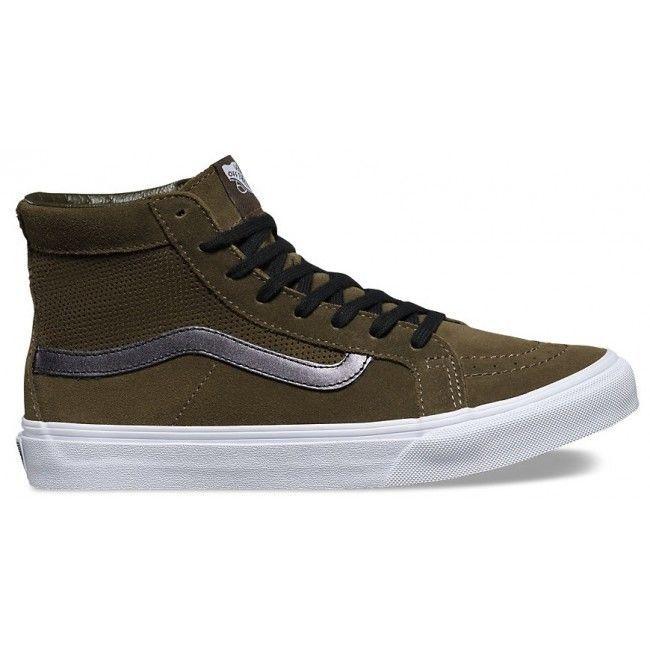 VANS Sk8 Hi Slim Cutout (Perf Suede) Tarmac/True White Women's Shoes Size 9