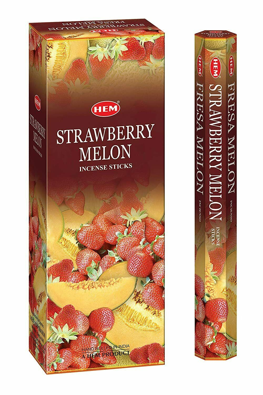HEM Strawberry Melon Incense Sticks Natural Fragrance 6 Pack of 20 Sticks - $11.07