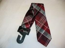George Men's Neck Tie Red Gray Plaid Dress Tie New - $10.19