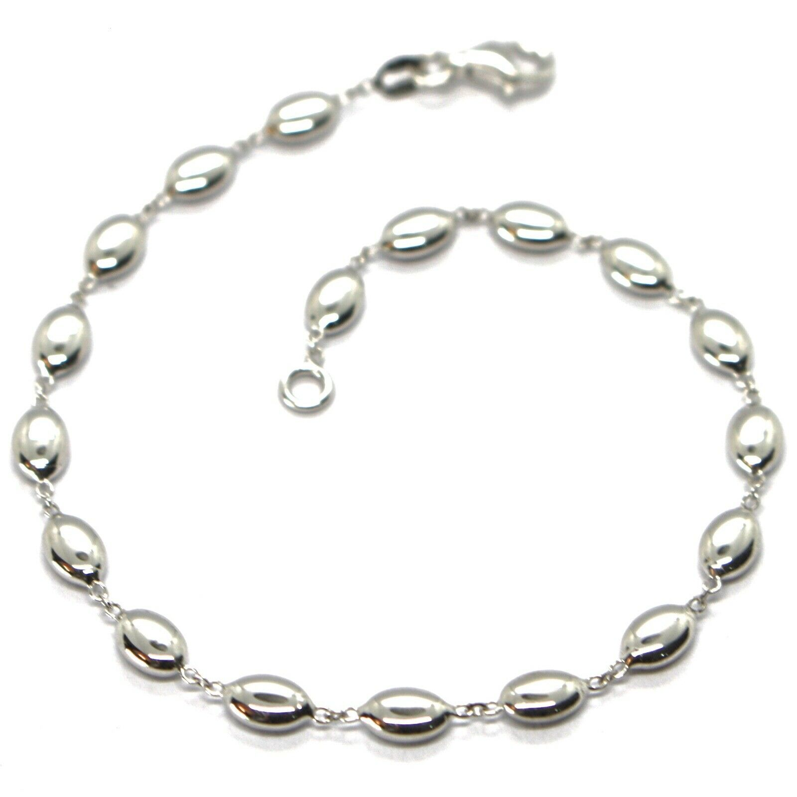 Primary image for Bracelet White Gold 18K 750, Bean of Rice, Ovals Pantry, Polished, 19.5 CM