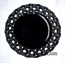 Westmoreland Black Glass Border Plate Forget Me Not Design - $25.99