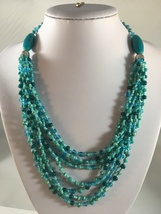 Vintage Eight Strand Multi Color Turquoise Glass Stones - $9.00