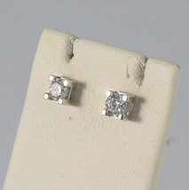 SOLID 18K WHITE GOLD EARRINGS WITH ZIRCONIA WIDTH 0,12 INCHES, MADE IN ITALY image 2