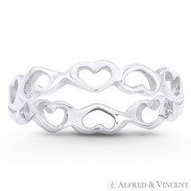 3.5mm Heart Love Charm Ring Stackable Eternity Band in Solid 925 Sterling Silver - $23.99
