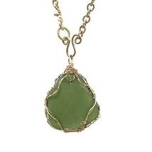 Genuine Green Sea Glass Necklace, Handmade Sea Glass Jewelry, Hamptons B... - $197.06