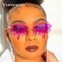 New Fashion Rimless Sunglasses Women Vintage Unique Tears Shape Steampunk Sungla image 3