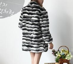 Women's Soft Luxury Chinchilla Faux Fur Winter Fashion Runway Coat image 4