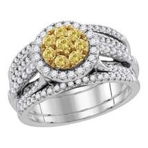 14k White Gold Round Yellow Diamond Bridal Wedding Engagement Ring Set 3.00 Ctw - $4,097.26