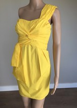 NANETTE LEPORE Yellow Cotton Ruched Knotted One Shoulder Cocktail Dress ... - $46.72 CAD