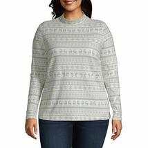 St. John's Bay Women's Long Sleeve Mock Neck Shirt Size 1X Ivory Reindeer NEW - $17.11