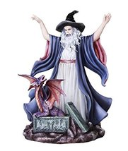 Great Wizard Magician Summoning the Spellbound Dragon Collectible Fantasy Figuri - $69.29
