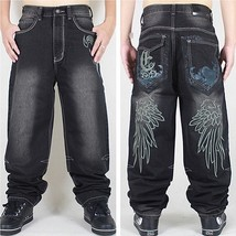 Men's Fashion Hip Hop Wing Embroidery Embroidered Skateboard Loose Jeans - $58.14