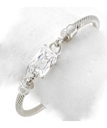 "7.5"" Womens Classic Silver Twisted Cuff Bracelet Clear Glass Adjustable - $6.73"