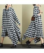 Vintage Women ZANZEA M-5XL Oversized Checkered Shirt Dress Autumn Plus S... - $37.74