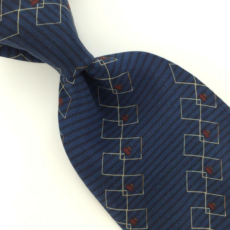 Primary image for BILL BLASS Linked Squares NAVY BLUE Red Silk Men Necktie I1-603 Excellent Ties