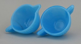 Vintage Akro Agate Toy Azure Blue Stacked Disk Interior Panel Cream & Sugar image 2