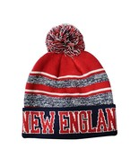 New England Men's Blended Stripe Winter Knit Pom Beanie Hat (Navy/Red) - $13.75