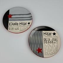 "Lot of 2 Dept. 56 Ceramic 6"" Newspaper Daily Star Snack Dessert Appetizer Plate - $19.79"