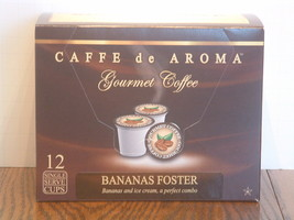 Caffe de Aroma Flavored Bananas Foster 12 Single Serve K-Cups Free Shipping - $9.99