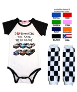 Nascar Onesie Watching With Custom Infant Bodysuit Shirt Outfit - $17.95+