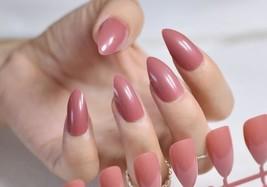 Dusty rose pink almond shape 24 piece artificial nails set medium length - $9.99
